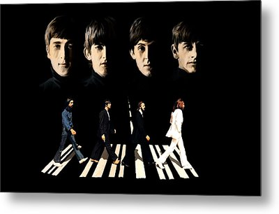 Crossing Into History The Beatles  Metal Print by Iconic Images Art Gallery David Pucciarelli