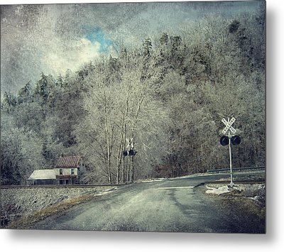 Crossing Into Winter Metal Print by Kathy Jennings