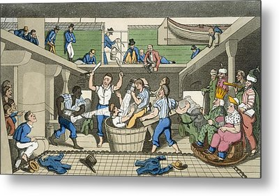 Crossing The Line, Plate From The Metal Print by Thomas Rowlandson