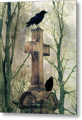 Urban Graveyard Crows Metal Print by Gothicrow Images