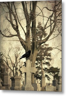 Crow's Cross Metal Print by Gothicrow Images