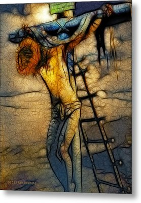 Crucifixion - Stained Glass Metal Print by Ray Downing