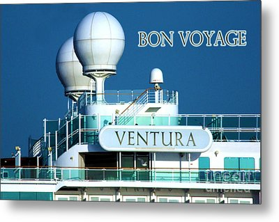 Cruise Ship Ventura's Radar Domes Metal Print by Terri Waters