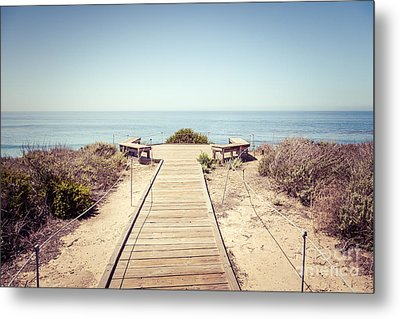 Crystal Cove Overlook Retro Picture Metal Print by Paul Velgos