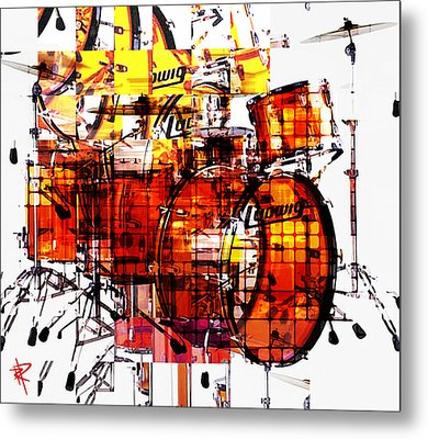 Cubist Drums Metal Print by Russell Pierce
