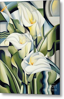 Cubist Lilies Metal Print by Catherine Abel