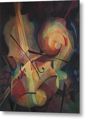 Cubist Play - Abstract Cello Metal Print by Susanne Clark