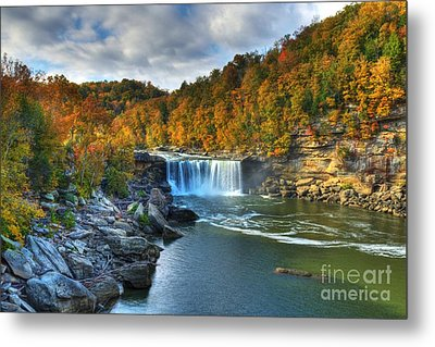 Cumberland Falls In Autumn Metal Print by Mel Steinhauer