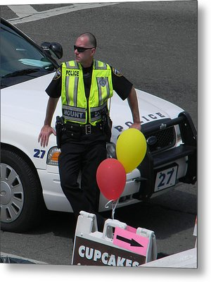 Cupcake And Balloon Checkpoint Metal Print by Christy Usilton