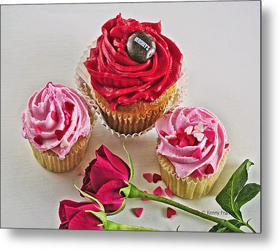 Cupcakes And Roses Metal Print by Kenny Francis