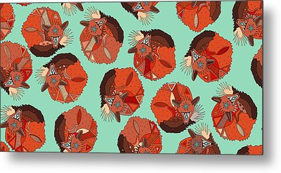 Curled Fox Polka Mint Metal Print by Sharon Turner