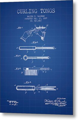 Curling Tongs Patent From 1889 - Blueprint Metal Print by Aged Pixel