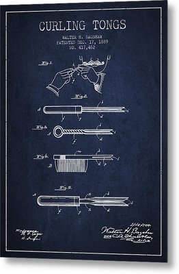 Curling Tongs Patent From 1889 - Navy Blue Metal Print by Aged Pixel