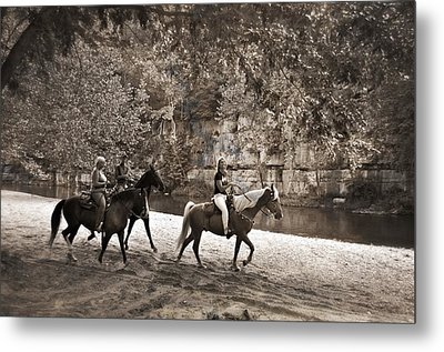 Current River Horses Metal Print by Marty Koch