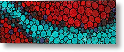 Currents - Red Aqua Art By Sharon Cummings Metal Print by Sharon Cummings