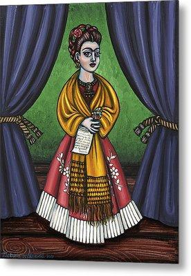 Curtains For Frida Metal Print by Victoria De Almeida