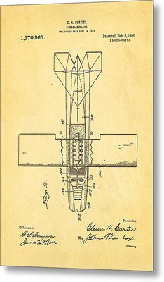 Curtiss Hydroplane Patent Art 2 1916 Metal Print by Ian Monk