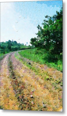 Curved Road Painting Metal Print by George Fedin and Magomed Magomedagaev