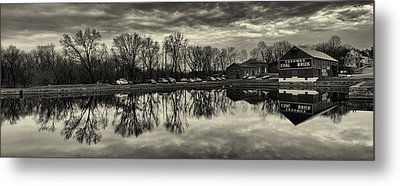 Cushwa Basin C And O Canal Black And White Metal Print by Joshua House