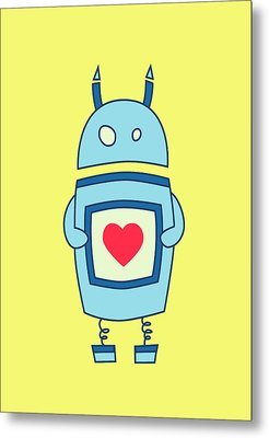 Cute Clumsy Robot With Heart Metal Print by Boriana Giormova