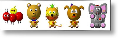Cute Critters With Heart A To E Metal Print by Rose Santuci-Sofranko
