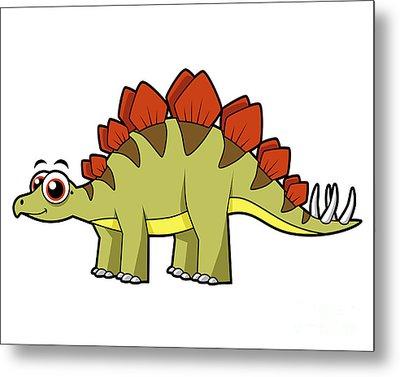 Cute Illustration Of A Stegosaurus Metal Print by Stocktrek Images