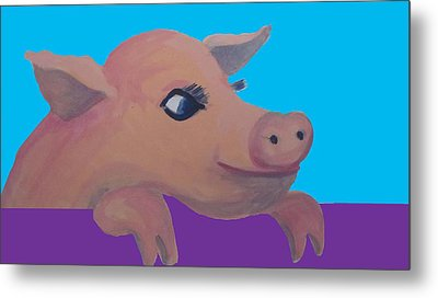 Cute Pig 1 Metal Print by Cherie Sexsmith