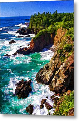 Cutler Coast White Water Metal Print by Bill Caldwell -        ABeautifulSky Photography