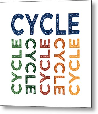 Cycle Cute Colorful Metal Print by Flo Karp