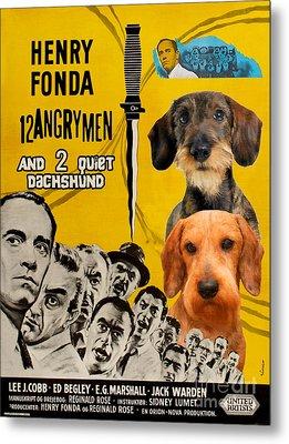 Dachshund Art Canvas Print - 12 Angry Men Movie Poster Metal Print by Sandra Sij