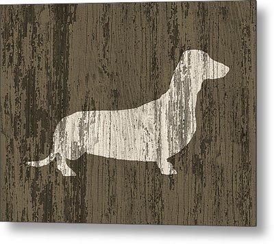Dachshund On Wood Metal Print by Flo Karp