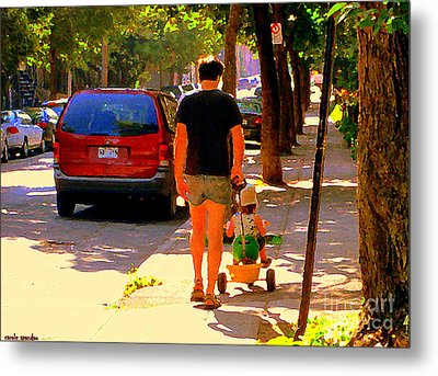Daddy's Little Buddy Perfect Day Wagon Ride Montreal Neighborhood City Scene Art Carole Spandau Metal Print by Carole Spandau