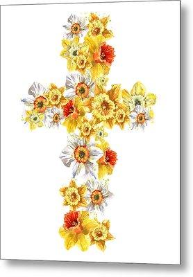 Daffodil Cross Metal Print by Alison Fennell
