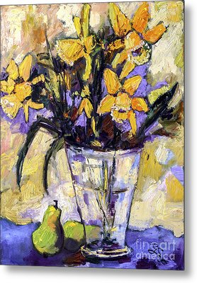 Daffodils And Pears Still Life Metal Print by Ginette Callaway