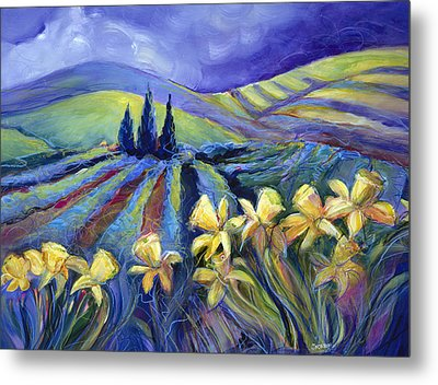Daffodils And Stormclouds Metal Print by Jen Norton