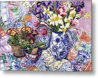 Daffodils Tulips And Iris In A Jacobean Blue And White Jug With Sanderson Fabric And Primroses Metal Print by Joan Thewsey