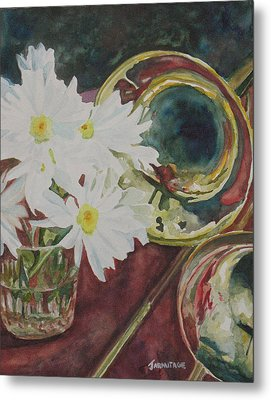 Daisies Bold As Brass Metal Print by Jenny Armitage