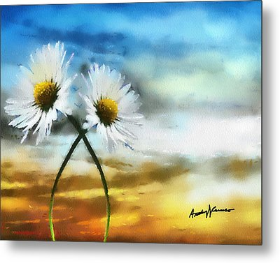 Daisies In Love Metal Print by Anthony Caruso
