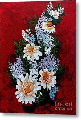 Daisies Lilacs And Forget Me Nots Metal Print by Barbara Griffin