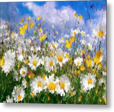 Daisies On A Hill - Impressionism Metal Print by Georgiana Romanovna