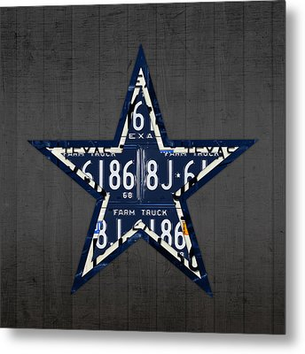 Dallas Cowboys Football Team Retro Logo Texas License Plate Art Metal Print by Design Turnpike
