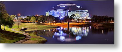 Dallas Cowboys Stadium At Night Att Arlington Texas Panoramic Photo Metal Print by Jon Holiday