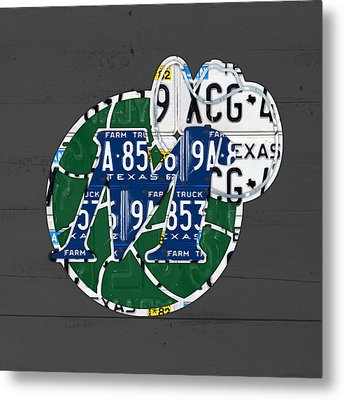 Dallas Mavericks Basketball Team Retro Logo Vintage Recycled Texas License Plate Art Metal Print by Design Turnpike