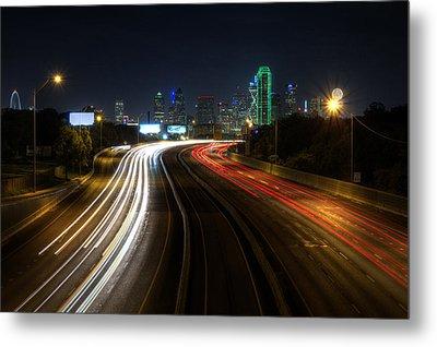 Dallas Night Light Metal Print by Jonathan Davison