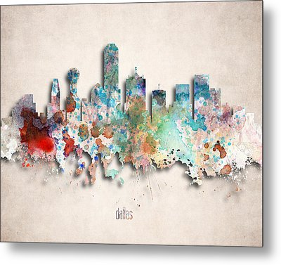 Dallas Painted City Skyline Metal Print by World Art Prints And Designs