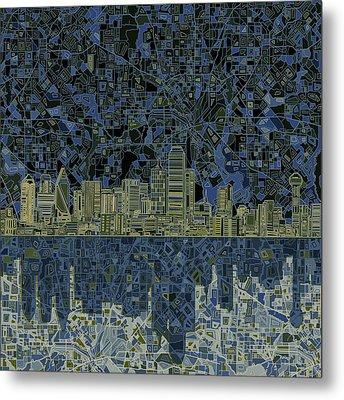 Dallas Skyline Abstract 2 Metal Print by Bekim Art