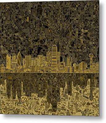 Dallas Skyline Abstract 3 Metal Print by Bekim Art