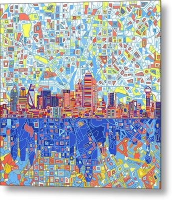 Dallas Skyline Abstract 5 Metal Print by Bekim Art