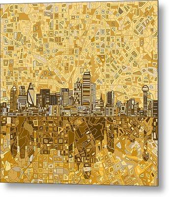 Dallas Skyline Abstract 6 Metal Print by Bekim Art