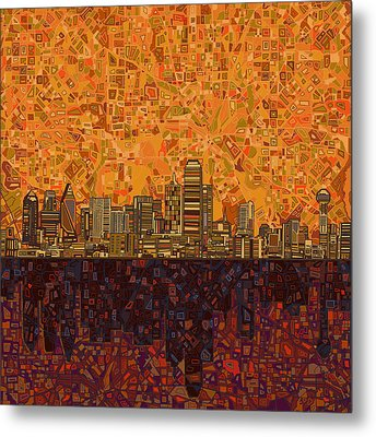 Dallas Skyline Abstract Metal Print by Bekim Art
